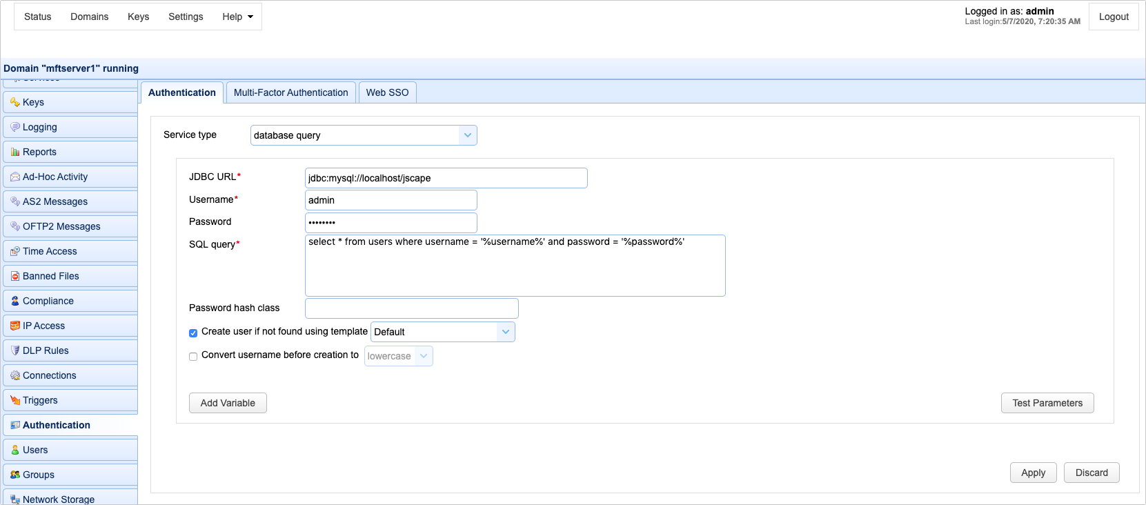 Setting authentication preferences